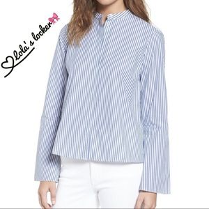 Madewell Striped Bell Sleeve Button Down Top